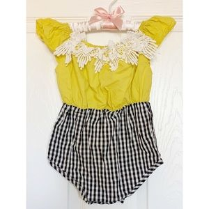 Other - Baby Girl- mustard and black checkered romper